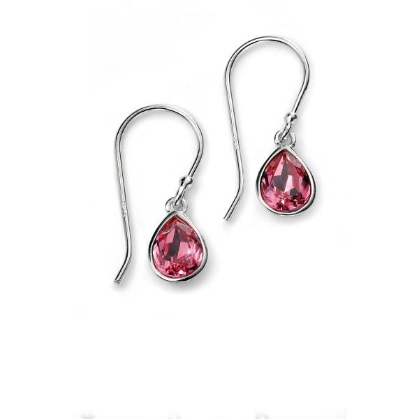 Sterling Silver Pink Swarovski Crystal Drop Earrings