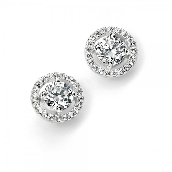 Sterling Silver Round Cubic Zirconia Pave Disc Stud Earrings