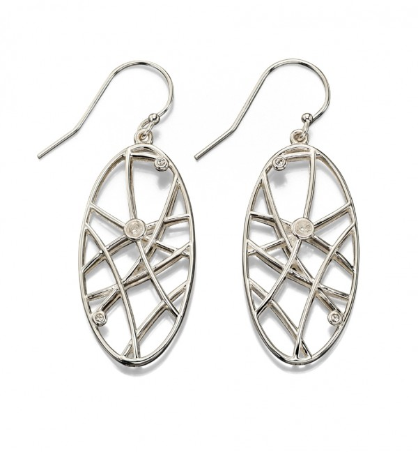 Sterling Silver Open Work  CZ Set Drop Earrings