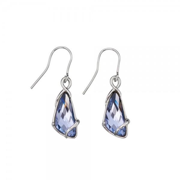 Sterling Silver Lavender Swarovski Crystal Wing Shape Hook Drop Earrings
