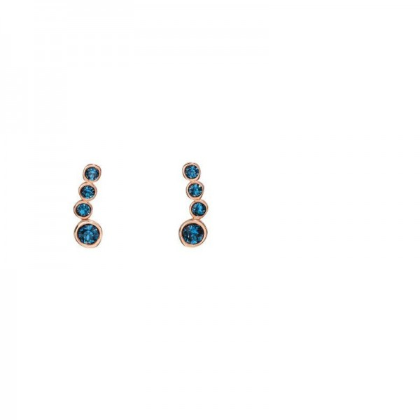 Sterling Silver Rose Gold Plated Blue Swarovski Crystal Crawler Stud Earrings