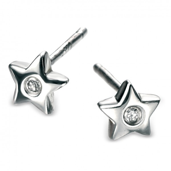 D for Diamond Silver Star Stud Earrings