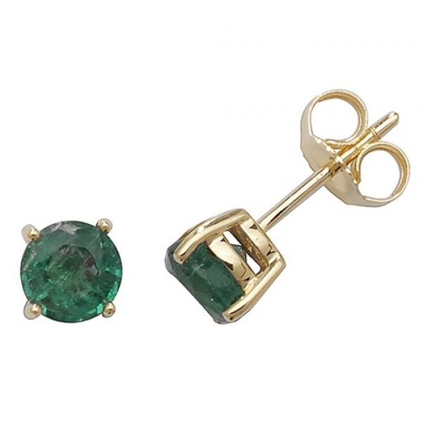9ct Gold Round Emerald Claw-Set Stud Earrings