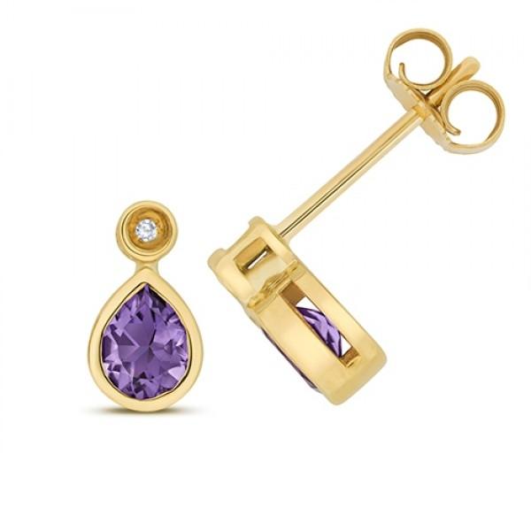 9ct Diamond & Teardrop Amethyst Stud Earrings