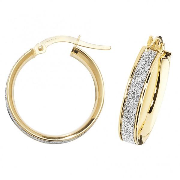 9ct Gold Sparkle 15mm Hoop Earrings