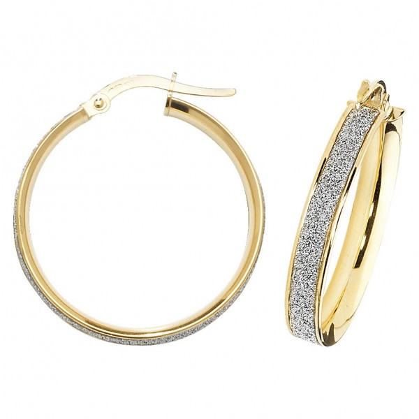 9ct Gold Sparkle 20mm Hoop Earrings