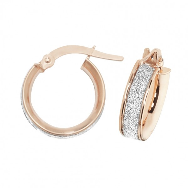 9ct Rose Gold Sparkle 10mm Hoop Earrings