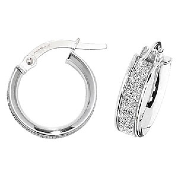 9ct White Gold Sparkle 10mm Hoop Earrings