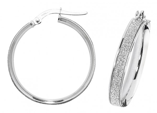 9ct White Gold Sparkle 20mm Hoop Earrings