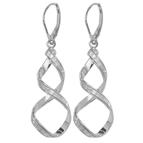9ct White Gold Sparkle Drop Earrings