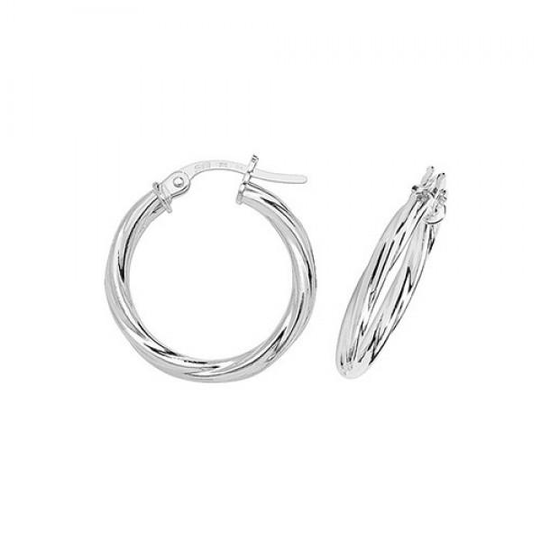 9ct White Gold 15mm Twist Hoop Earrings