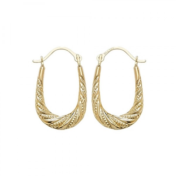 9ct Gold Patterned Creole Earrings