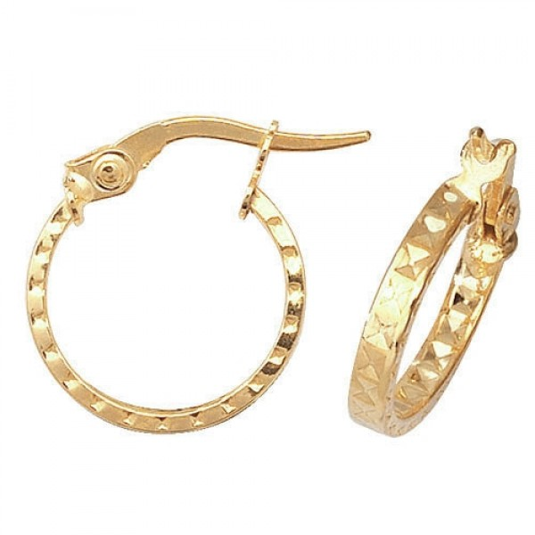 9ct Gold 10mm Diamond Cut Hoop Earrings