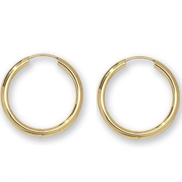 9ct Gold Earrings 20mm Sleeper Earrings