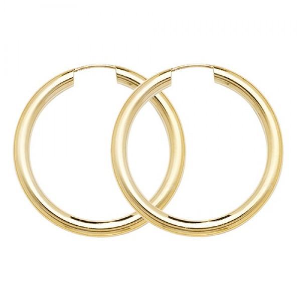 9ct Gold 25mm Sleeper Hoop Earrings