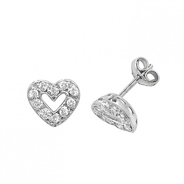 3c9110029 9ct White Gold Cubic Zirconia Open Heart Stud Earrings | Jewellery Repairs,  Watch Repairs Hull