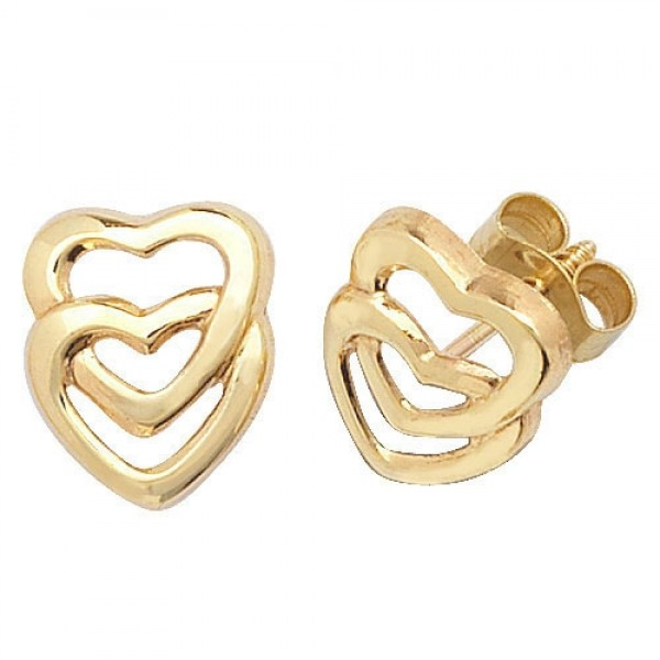 9ct Gold Double Open Heart Stud Earrings