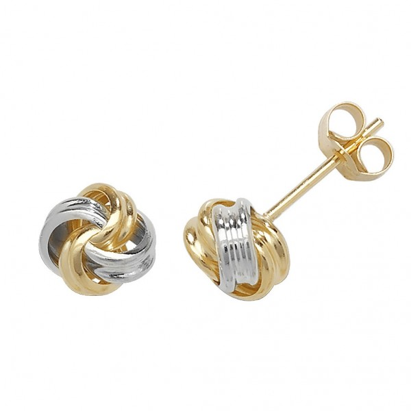9ct Gold 2 Colour Small Knot Stud Earrings