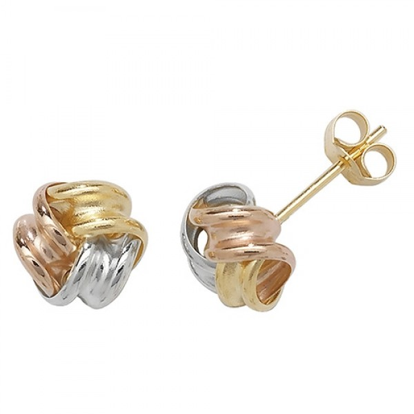 9ct Gold 3 Colour Knot Stud Earrings