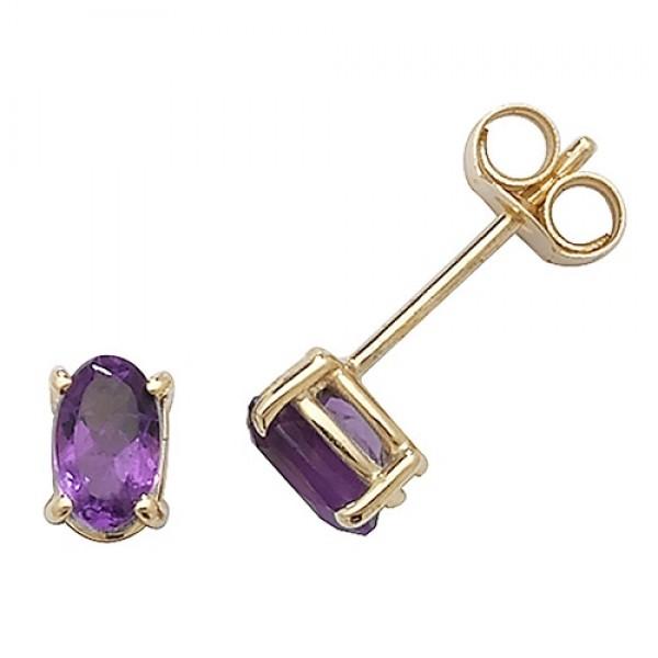 9ct Oval Amethyst Stud Earrings