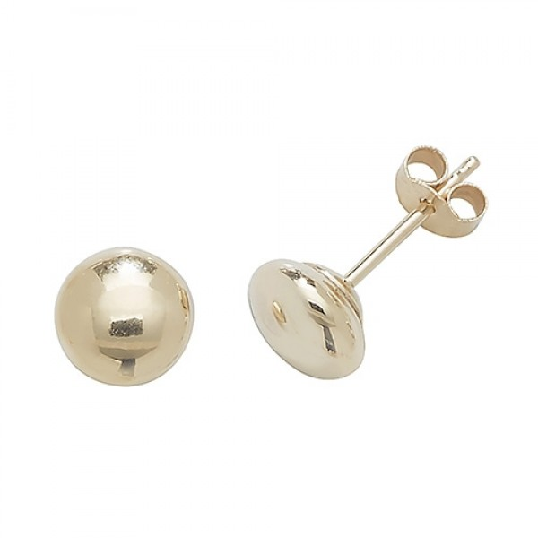 9ct Gold 5mm Button Stud Earrings
