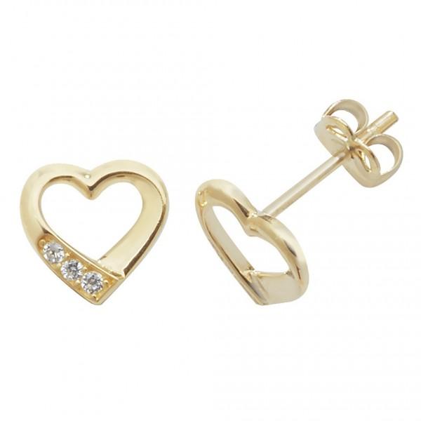 9ct Gold Cubic Zirconia Open Heart Stud Earrings