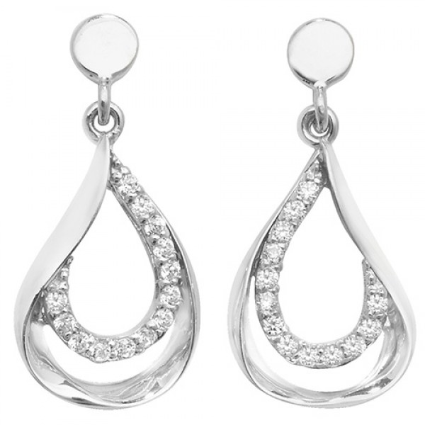 9ct White Gold Cubic Zirconia Open Teardrop Stud Earrings