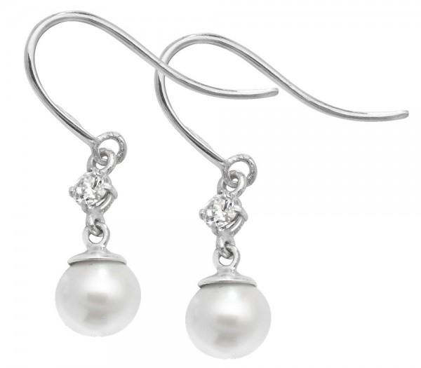 9ct White Gold Cubic Zirconia Pearl Hook Drop Earrings