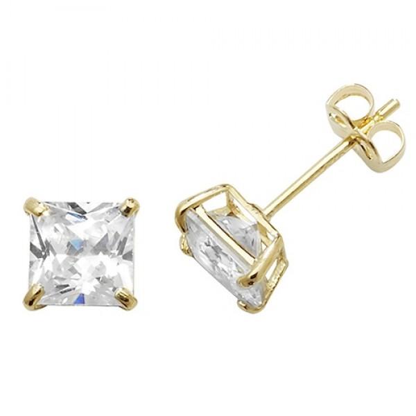 9ct Square Cubic Zirconia Stud Earrings