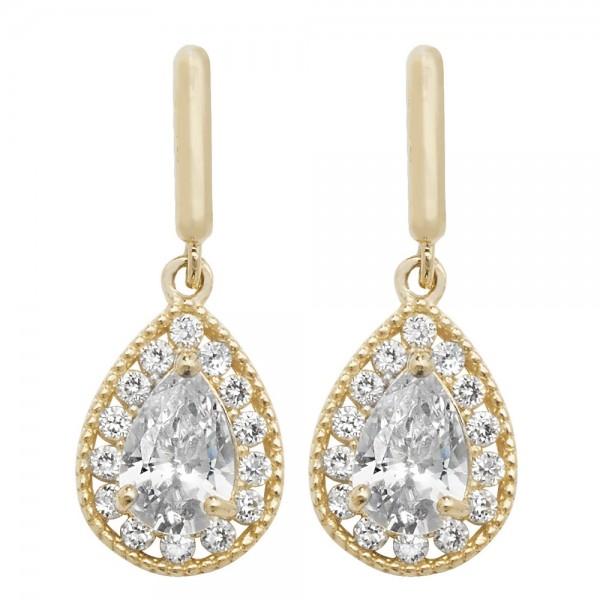 9ct Gold Cubic Zirconia Teardrop Stud Earrings