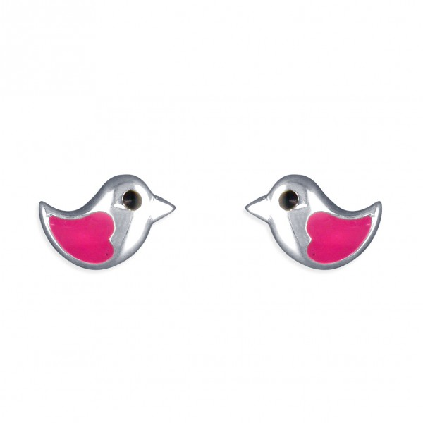 Sterling Silver Enamel Pink Little Bird Stud Earrings