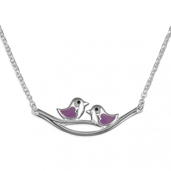 Sterling Silver Enamel Lilac Little Birds on Branch Necklace
