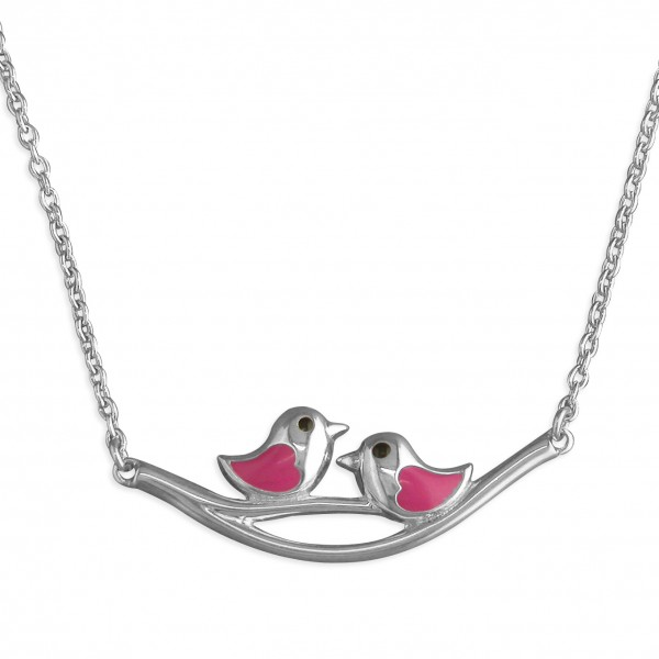 Sterling Silver Enamel Pink Little Birds on Branch Necklace
