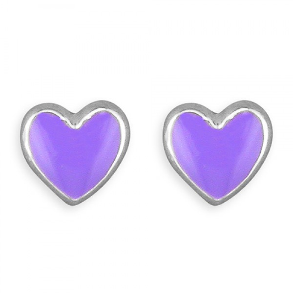 G1024/L Sterling Silver Enamel Lilac Heart Stud Earrings