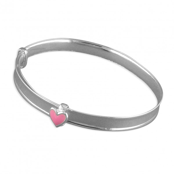 Sterling Silver Enamel Pink Heart Expanding Bangle