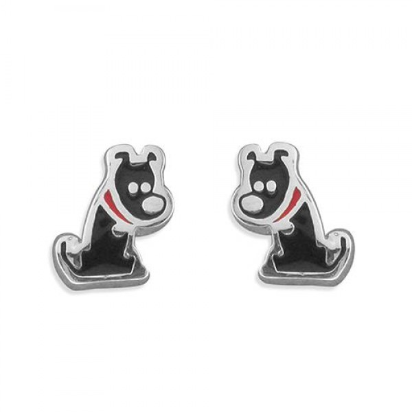 Sterling Silver Black Dog Earrings
