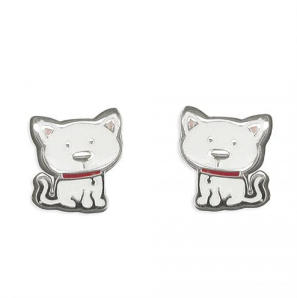 Sterling Silver Cat Stud Earrings