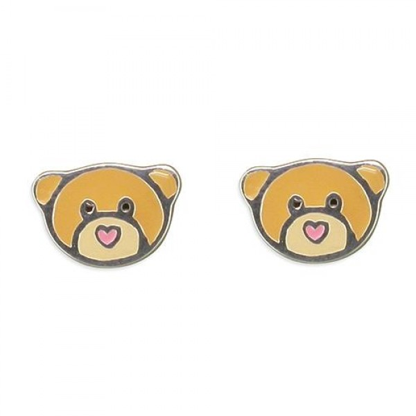Sterling Silver Teddy Bear Stud Earrings