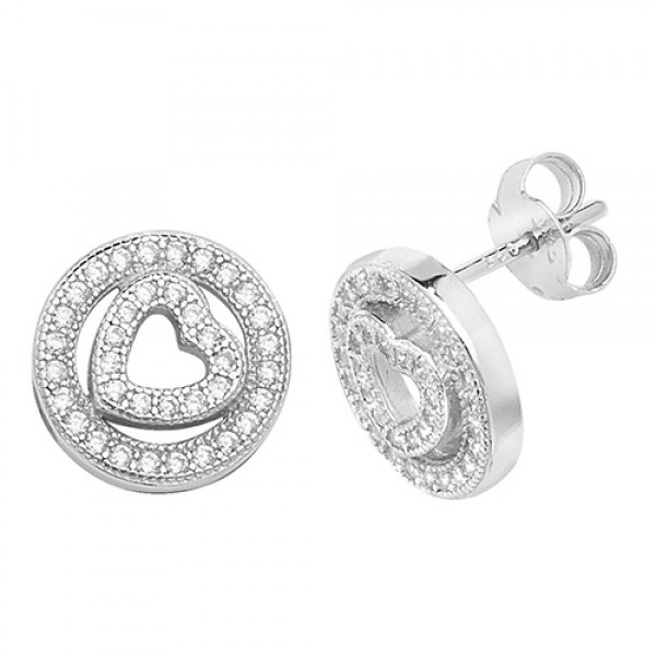 Sterling Silver Cubic Zirconia Open Heart and Circle Stud Earrings