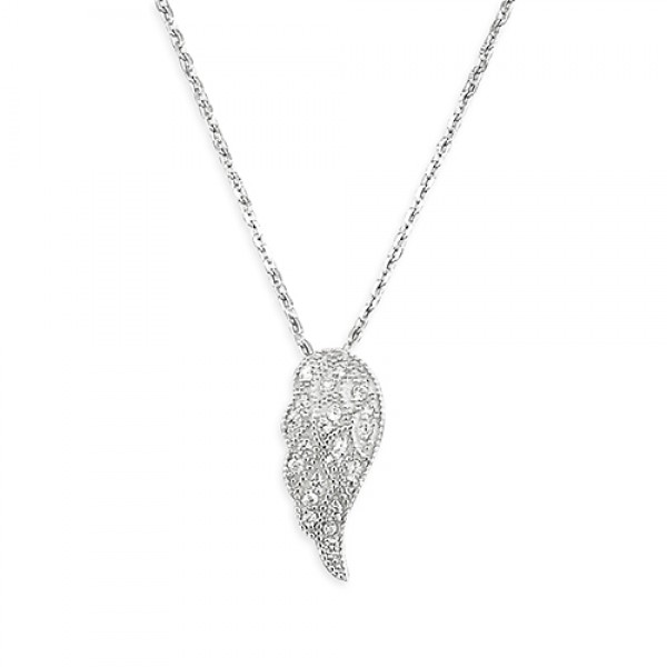 Sterling Silver Cubic Zirconia Angel Wing Necklace
