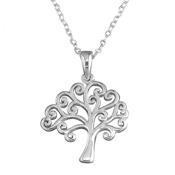 """Sterling Silver Tree of Life on 17.5"""" Chain"""