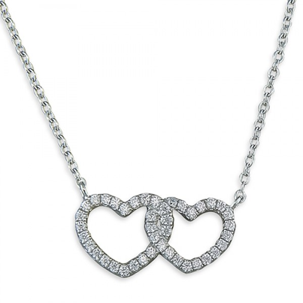 Sterling Silver Cubic Zirconia Interlinked Hearts Necklace