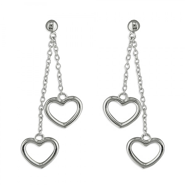 Sterling Silver Double Open Hearts on Chains Earrings