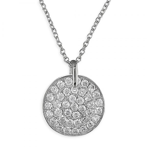 Sterling Silver Cubic Zirconia Disc Necklace