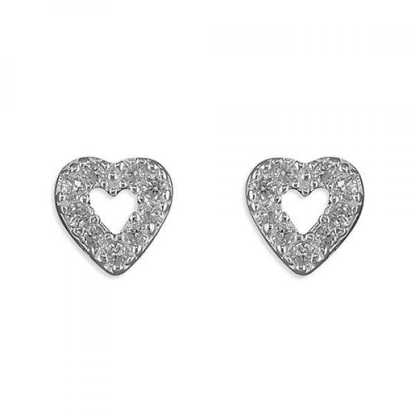 Sterling Silver Cubic Zirconia Open Heart Stud Earrings