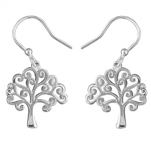 Sterling Silver Tree Of Life Hook Drop Earrings