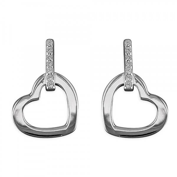 Sterling Silver Cubic Zirconia Bar with Open Heart Stud Earrings