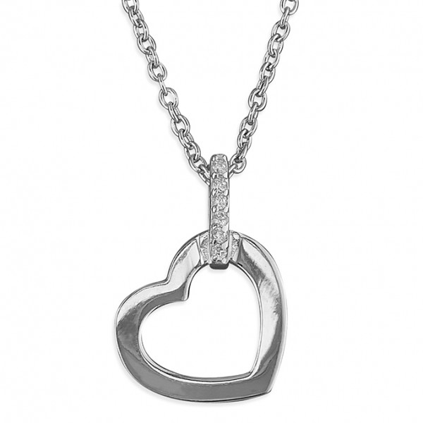 Sterling Silver Open Heart with Cubic Zirconia Bail on Chain