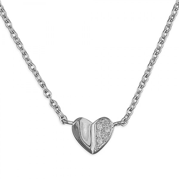 Sterling Silver Cubic Zirconia Small Heart Necklace
