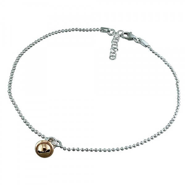 Sterling Silver Bead Chain with Rose Plated Bell Anklet
